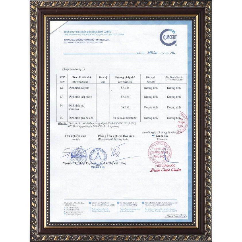 Phiếu kết quả thử nghiệm ATTP số 145/20/QC-PTN (T2)