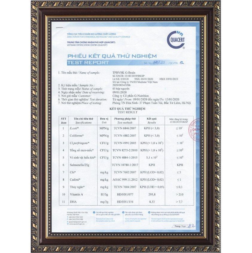 Phiếu kết quả thử nghiệm ATTP số 145/20/QC-PTN (T1)